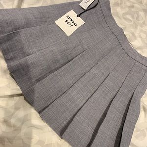 grey plaid skirt